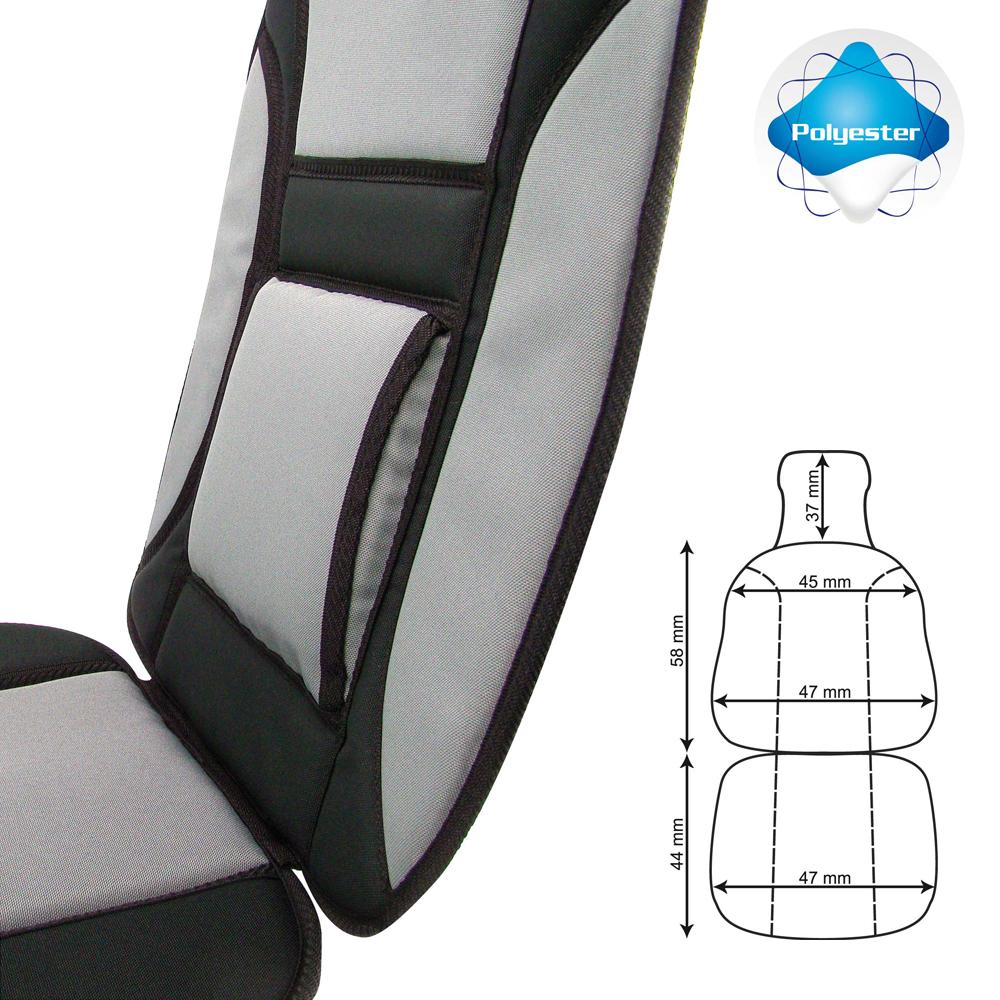 couvre si ge avec renfort lombaire tissu oxford gris et. Black Bedroom Furniture Sets. Home Design Ideas